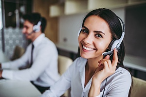 Woman employee at a call center