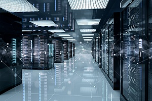 a server room representing data that could be lost if a company does not outsource IT help desk services