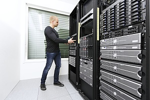 managed it services professional servicing a server room in a staten island business