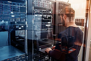managed it services provider working on a businesses server room in brooklyn new york