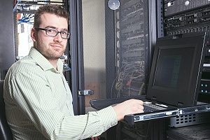 managed it services technician working on a server for a business in the bronx new york