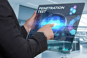 the words penetration test on a flat tablet which is a part of it security services