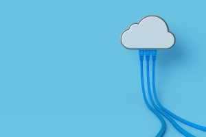 cloud computing with a cloud shape device and wires on blue background