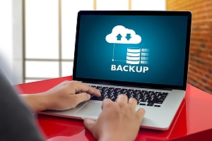 a business owner utilizing data backup services to ensure business continuity
