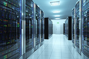 a server room hosting cloud data for NYC data recovery services