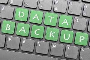 Data Backup on Keyboard in Green Letter