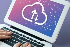Cloud Upload-Download Symbol on Laptop Screen