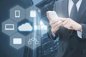 professional businessman connecting cloud internet smart phone