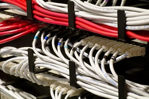 detail of a network rack
