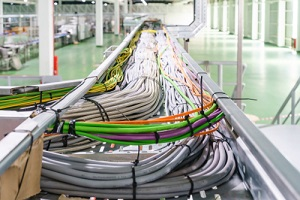 network cables are connected to the server