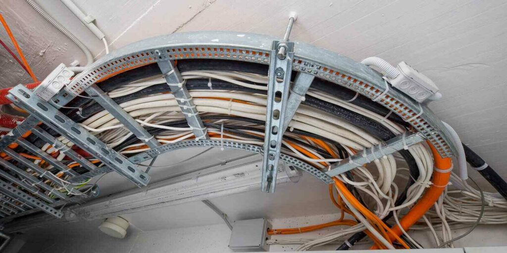 various electrical wire systems in the ceiling