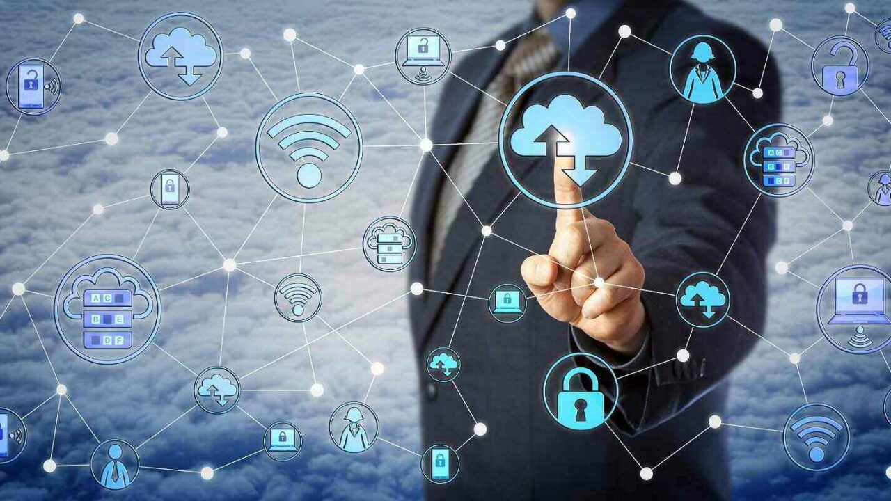 blue chip corporate client is touching a cloud computing icon in a virtual network