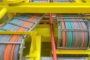 cables layout on cable tray and yellow steel structure