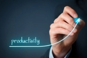 man drawing chart showing productivity increased